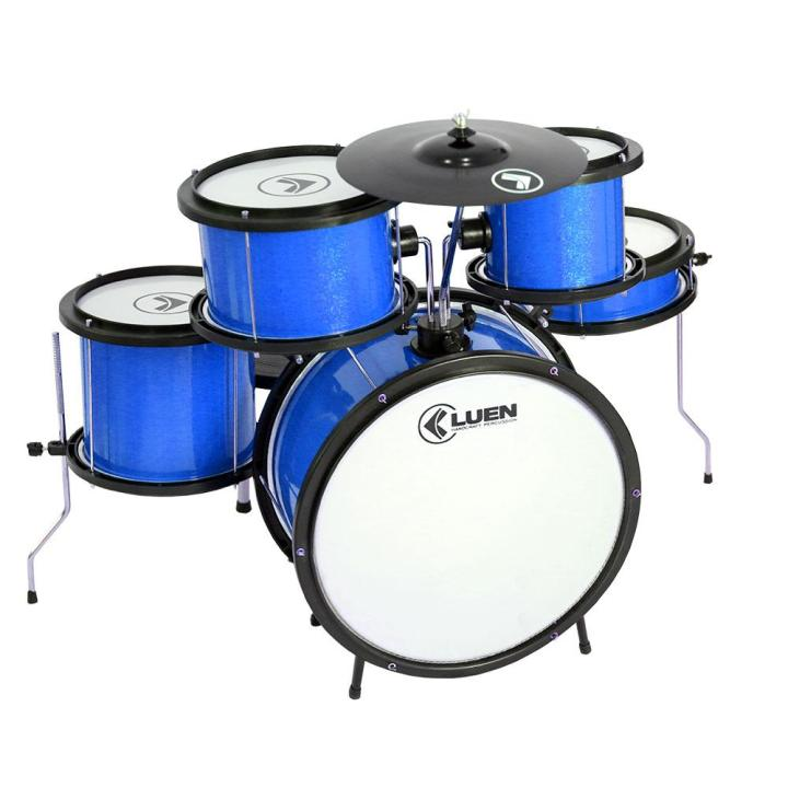 Bateria Infantil Luen Pop Kids Azul, com pedal, banco, baquetas e prato - Desenvolve musicalidade