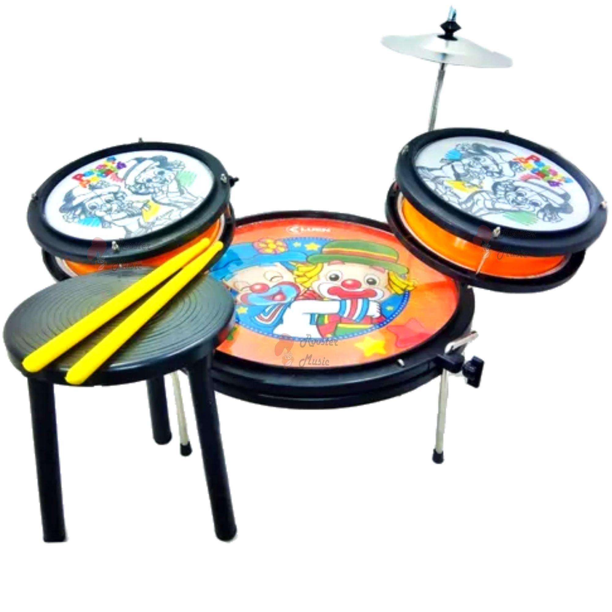 Bateria Infantil Pocket Drum Luen, com banco, baquetas, prato e canetinha.