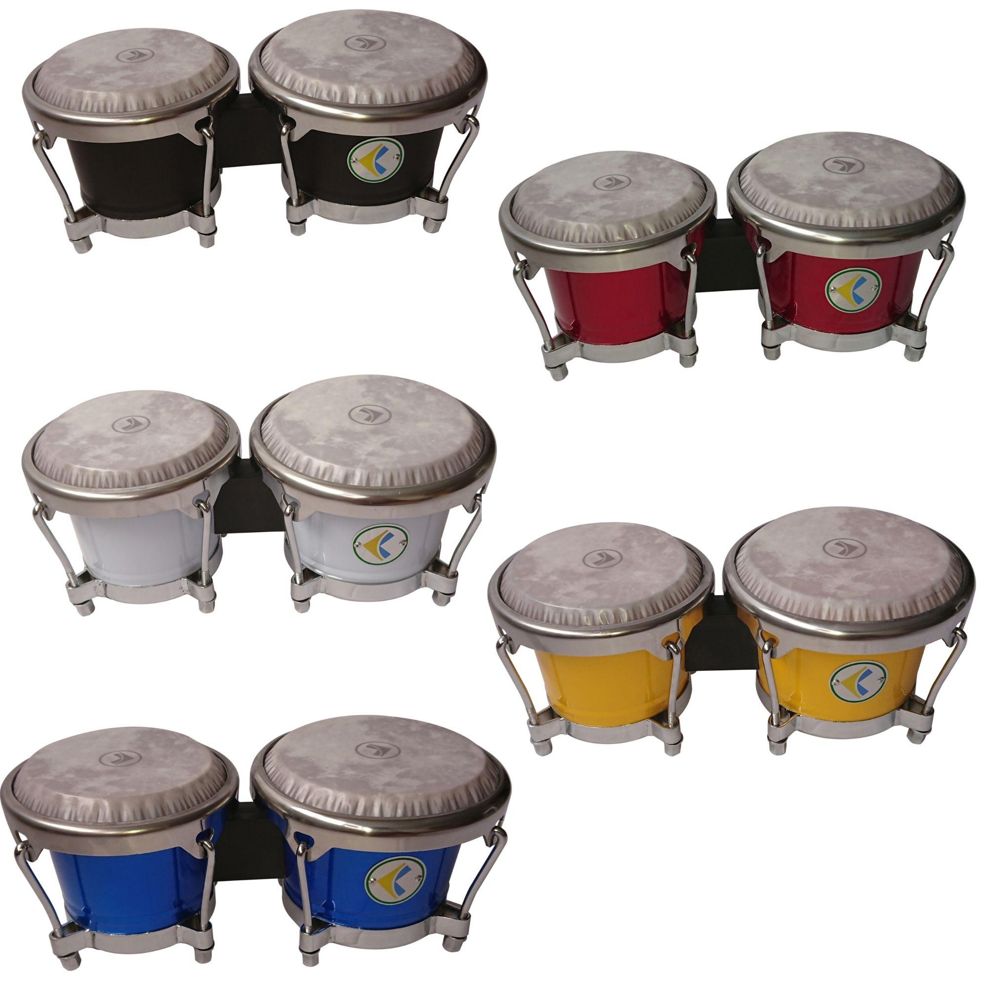 Bongô metal LUEN. 06 e 07 Polegadas série Colorsteel, pele fiber control - varias cores.