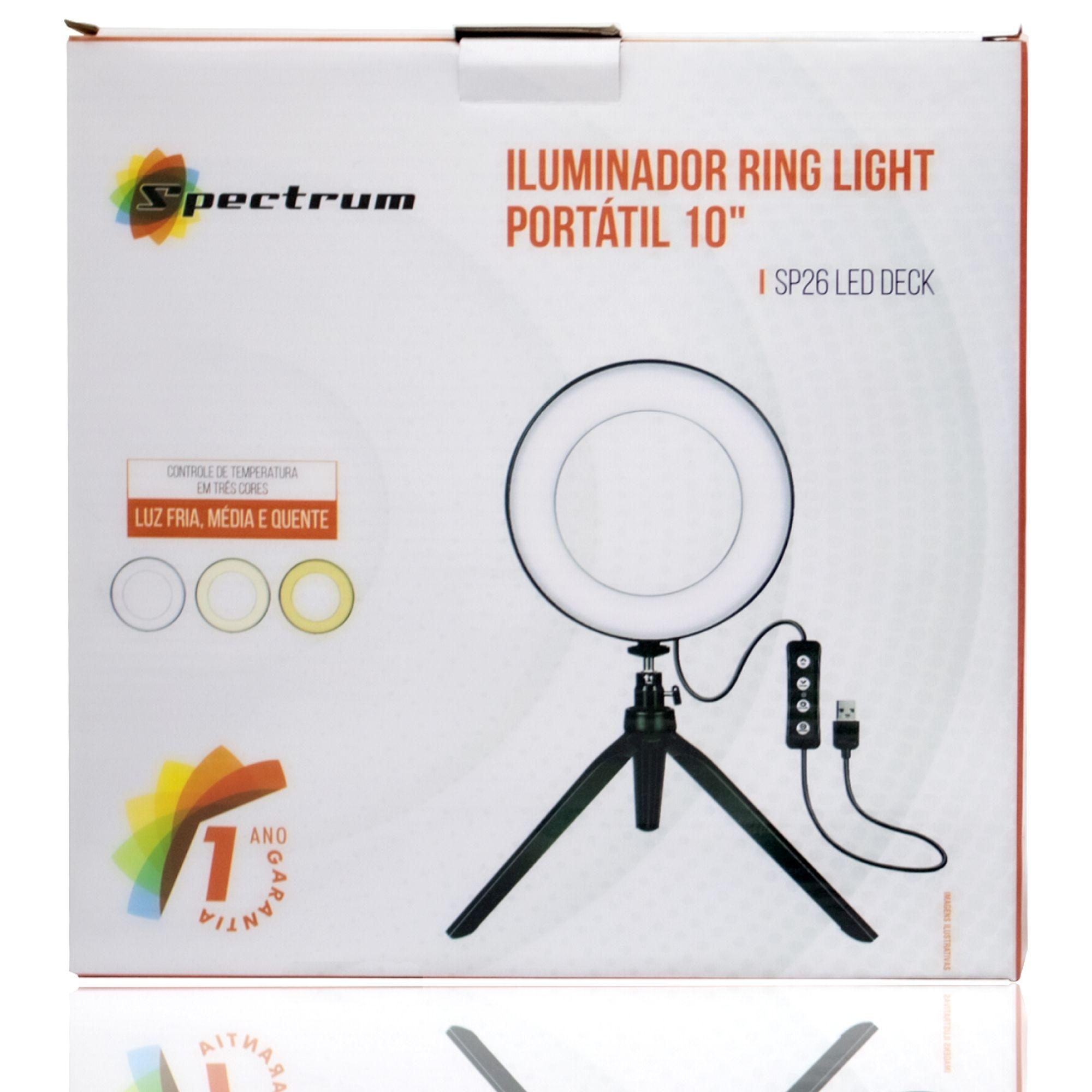 ILUMINADOR RING LIGHT SP-26 LED DECK, 26 CM, 10 POLEGADAS, MINI TRIPÉ DE MESA, SPECTRUM