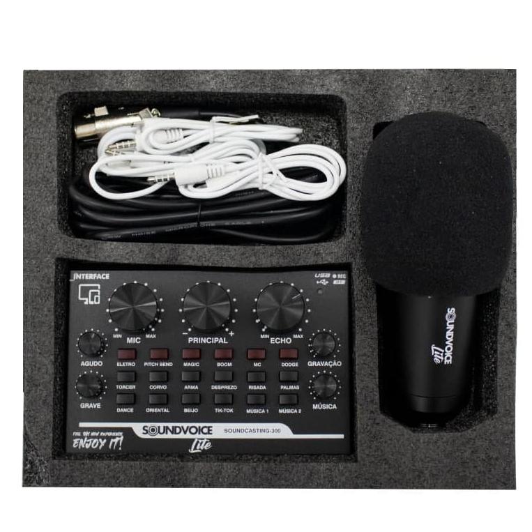KIT INTERFACE DE AUDIO SOUDCASTING-300 COM MICROFONE, POP FILTER E OUTROS