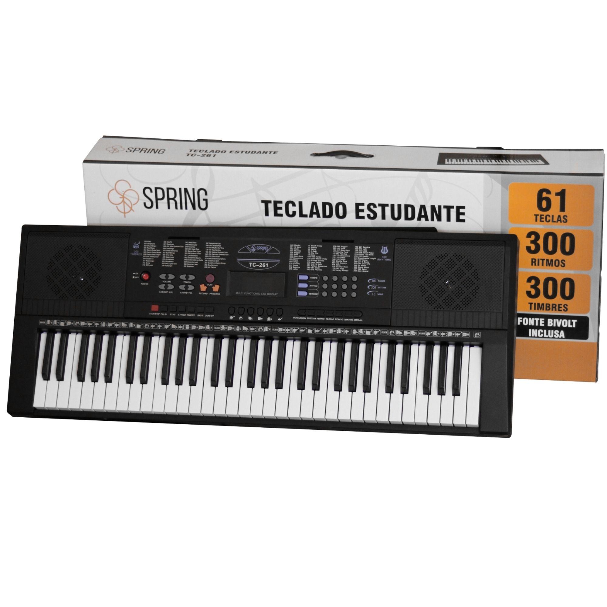 KIT TECLADO 61 TECLAS TC-261 SPRING  E SUPORTE PEDESTAL X10 IBOX