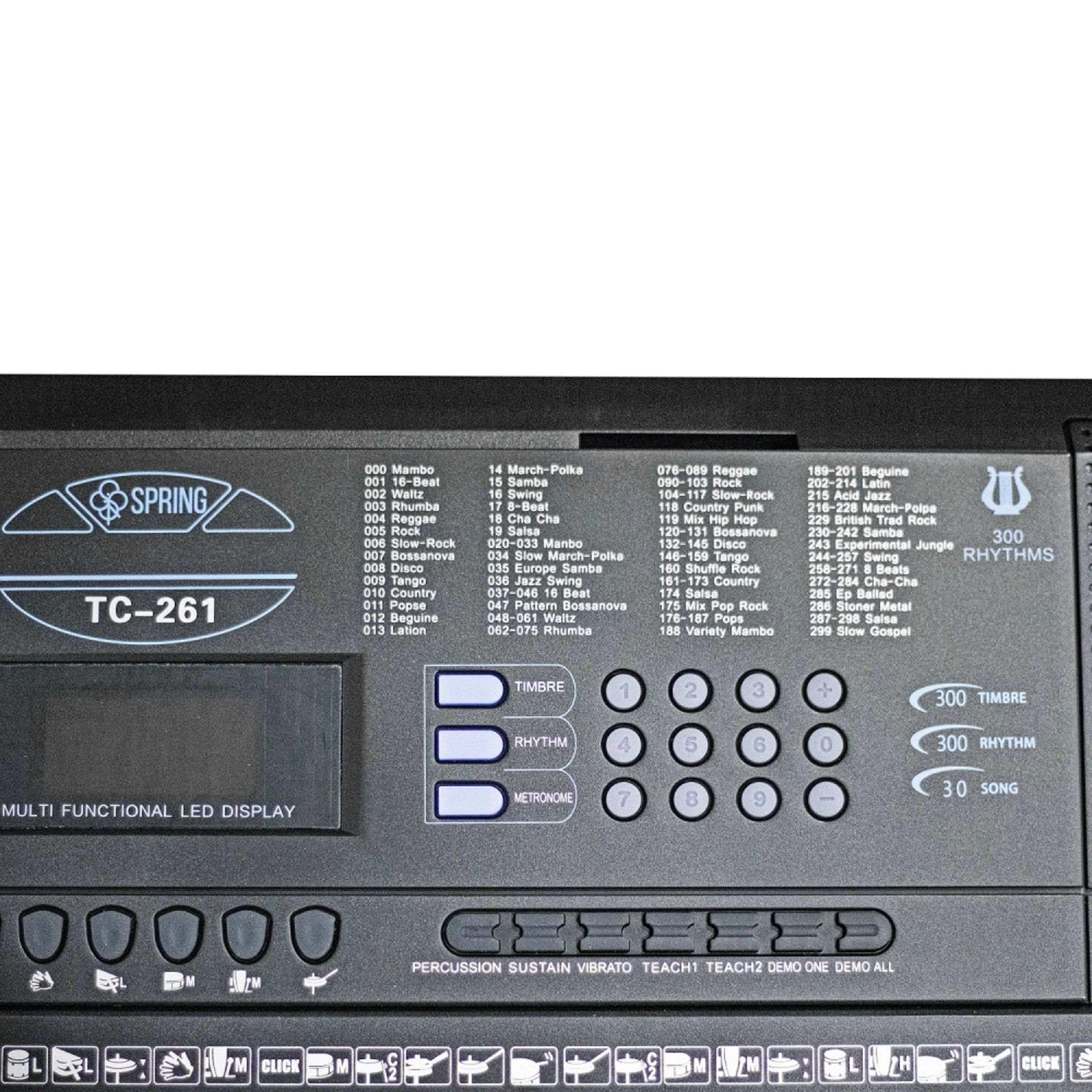 KIT TECLADO 61 TECLAS TC-261 SPRING, SUPORTE PEDESTAL EM X IBOX E BANCO SM-029 SMART.