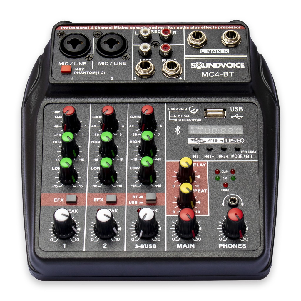 Mesa de Som Compacta MC4 BT SOUNDVOICE.