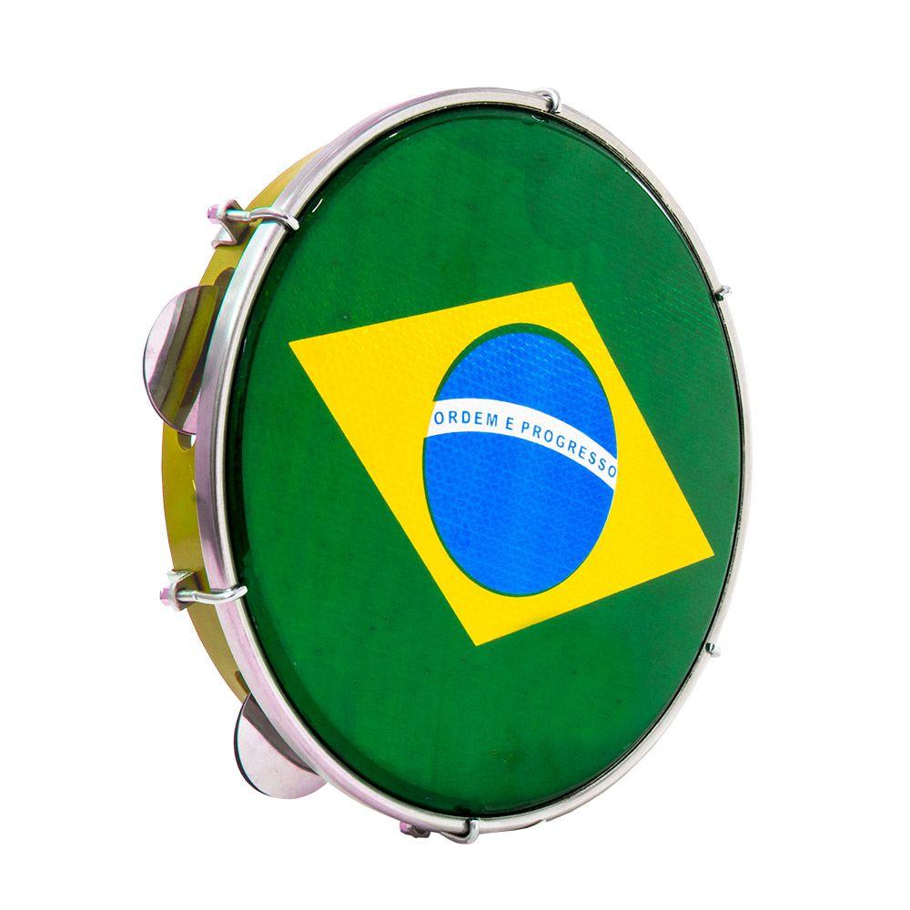 Pandeiro Luen 10 Pele Holográfica da Bandeira do Brasil, Corpo em Abs, com chave de afinação.