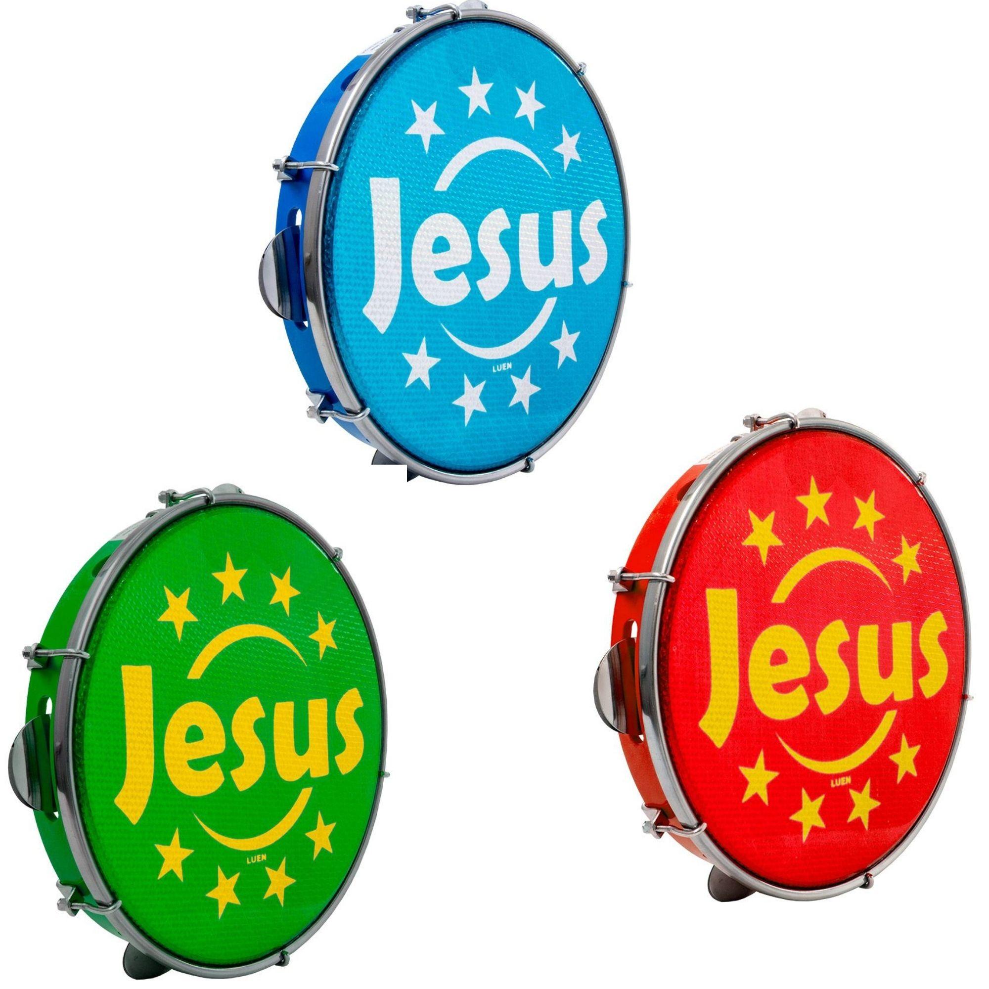 Pandeiro Luen 10 Pele Holográfica Personalizada Jesus, corpo em Abs, com chave de afinação