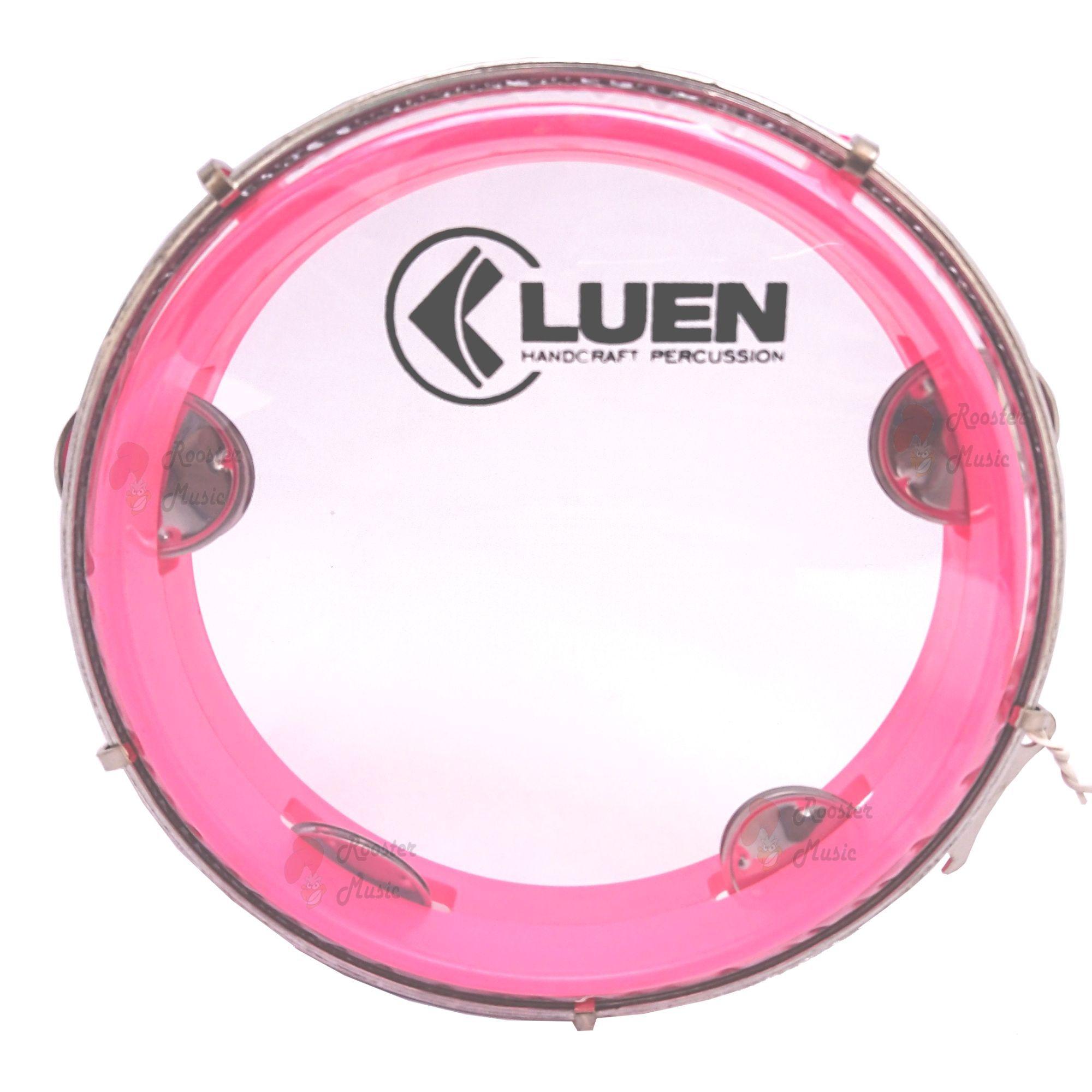 Pandeiro Luen 8 Junior Aro Abs Rosa, Pele Cristal e plat inox. Brinquedo com qualidade profissional