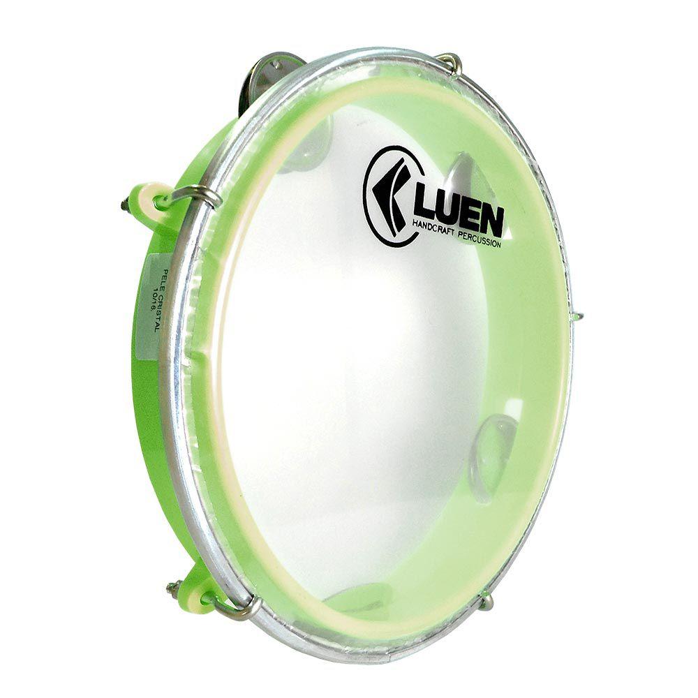 Pandeiro Luen 8 Junior Aro Abs Verde, Pele Cristal e plat inox. Brinquedo com qualidade profissional  - ROOSTERMUSIC