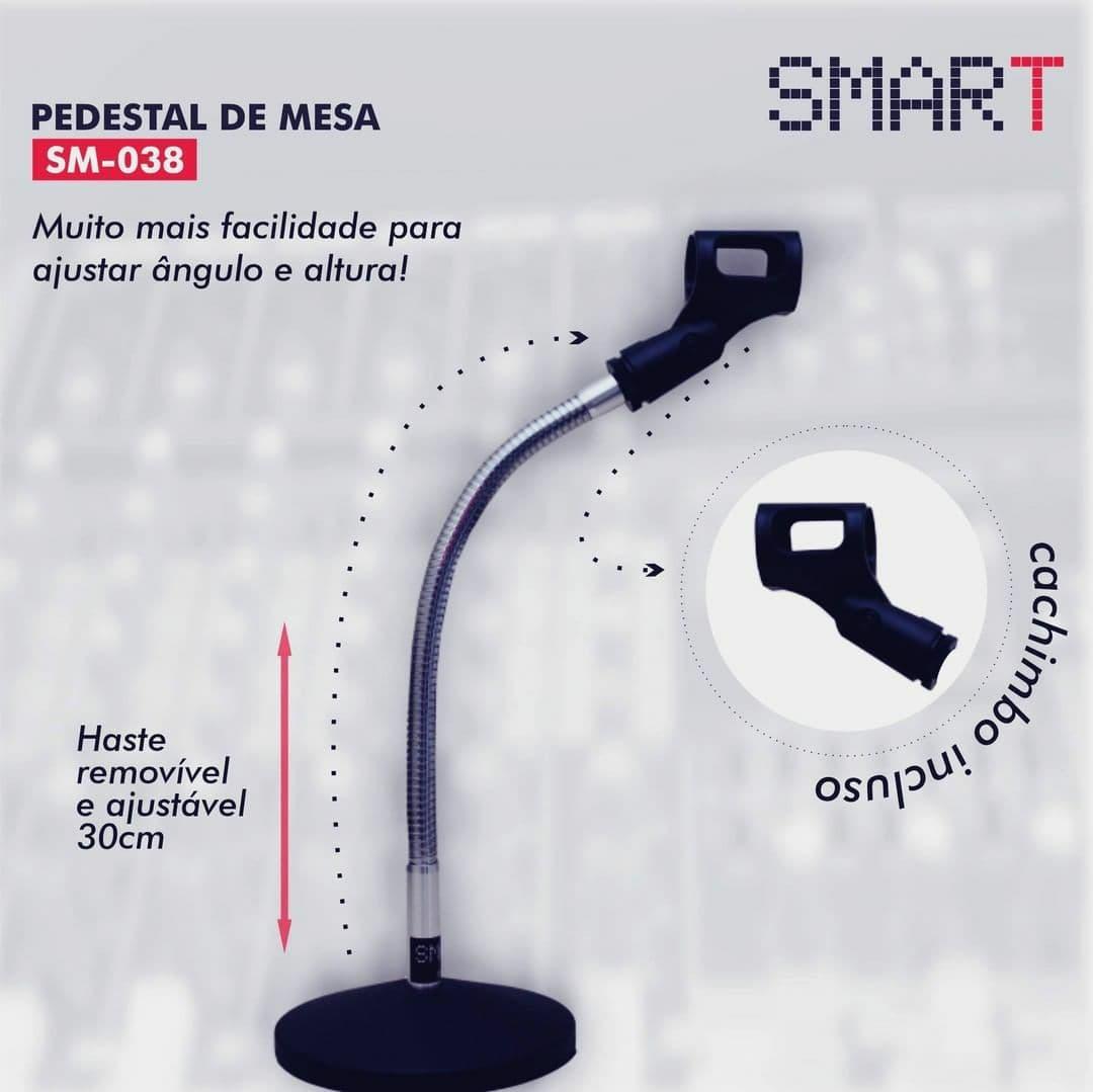 Pedestal Suporte de Mesa para Microfone SM-038 com Cachimbo da Smart.