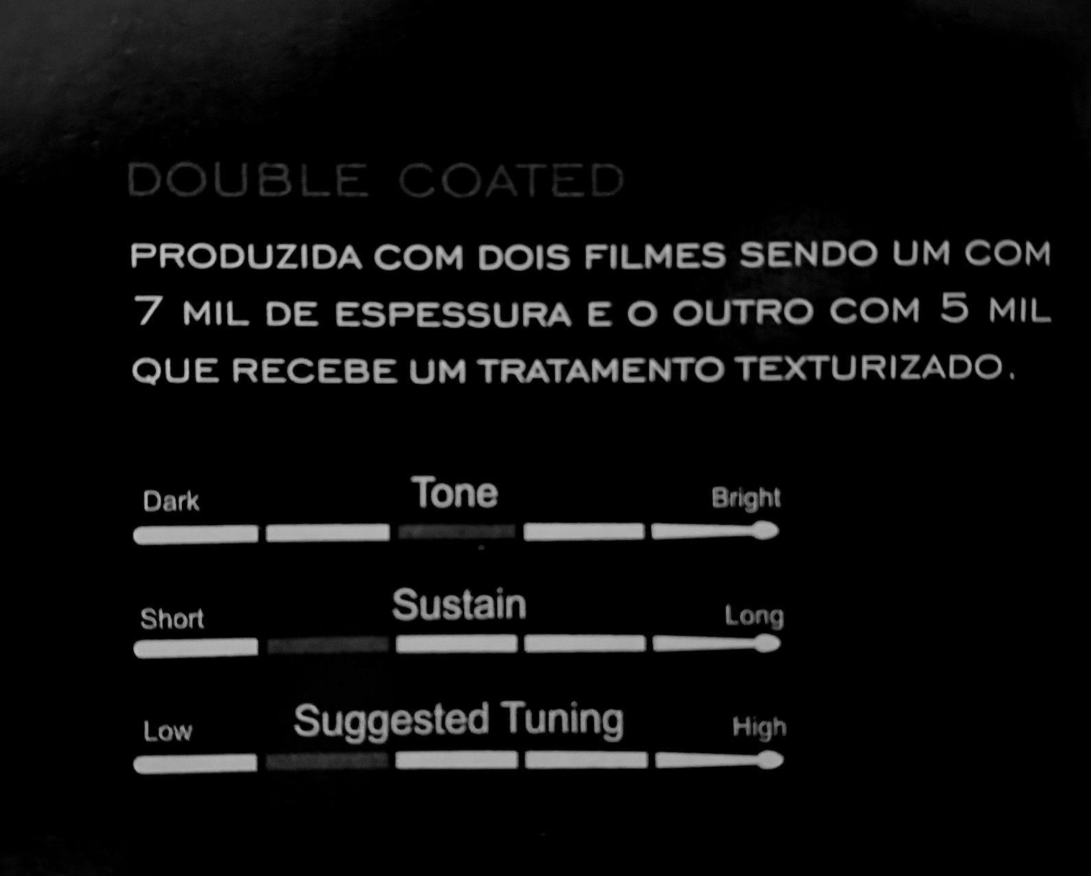 """Pele de Bateria 14"""" DOUBLE COATED Dudu Portes, LUEN. Pele com som de qualidade."""