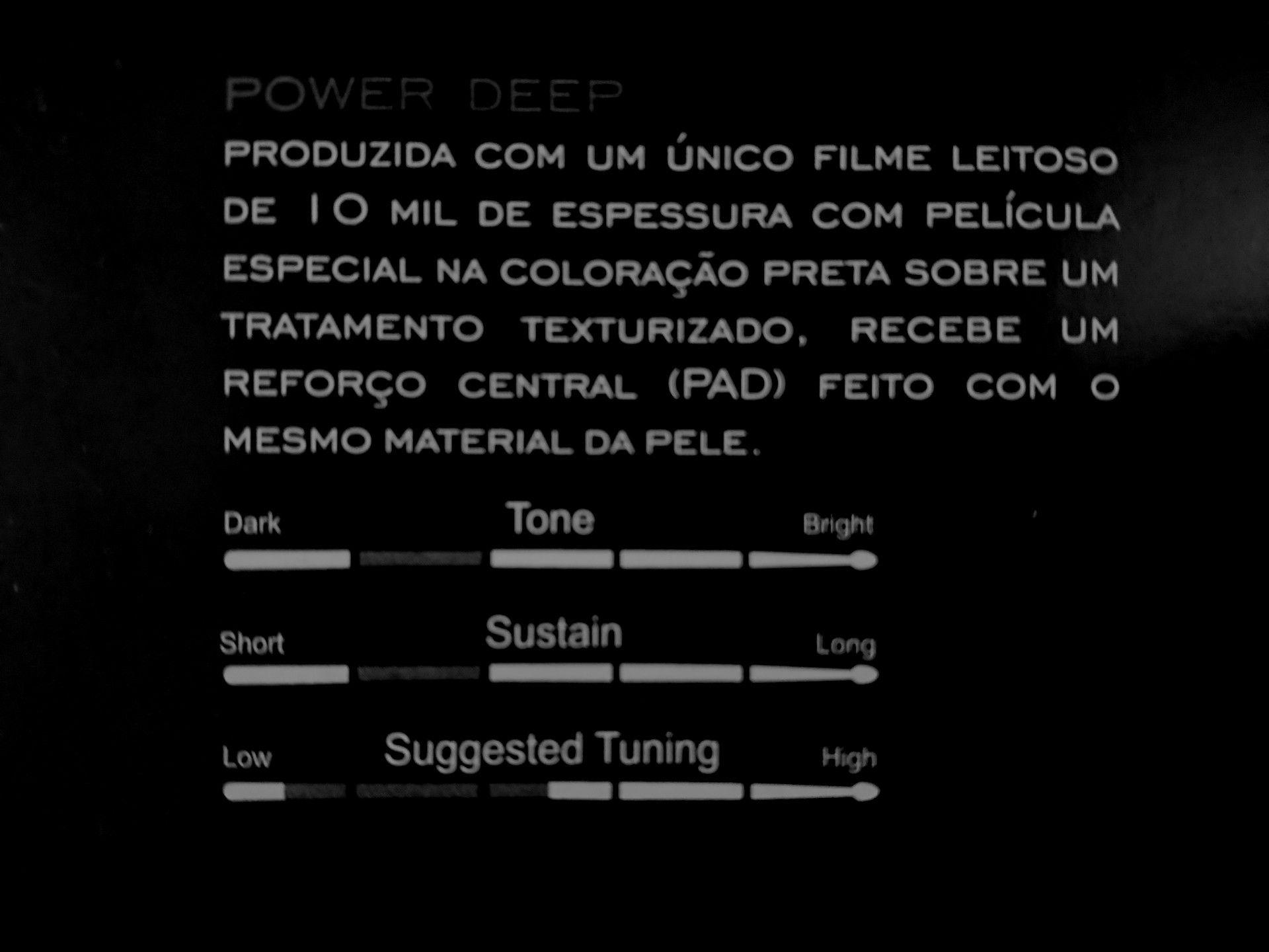 """Pele texturizada POWER DEEP C/ PAD 14"""" Dudu Portes LUEN, para Tom ou Surdo de Bateria."""