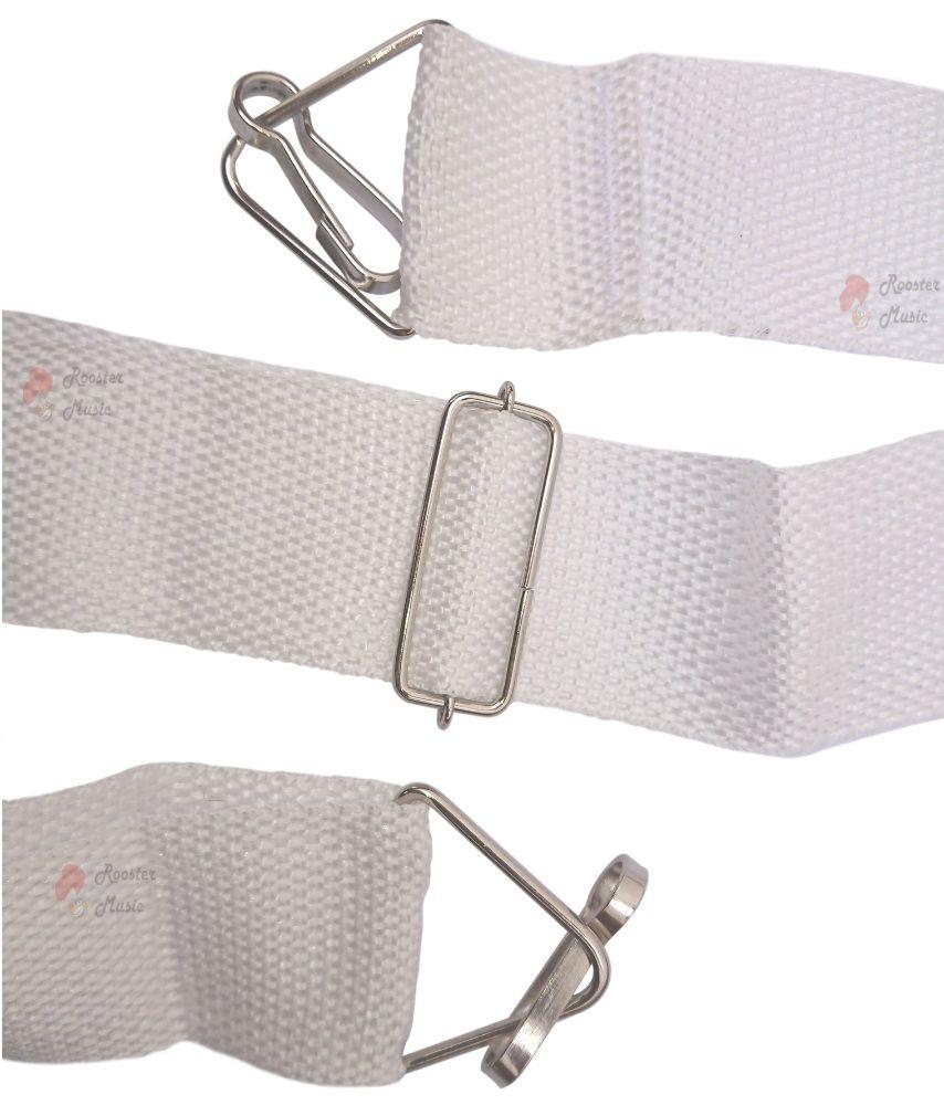 Talabarte Correia Branco Para Caixa de Guerra, Repique, Tarol, Surdo e outros 2 Ganchos CLAVE & BAG