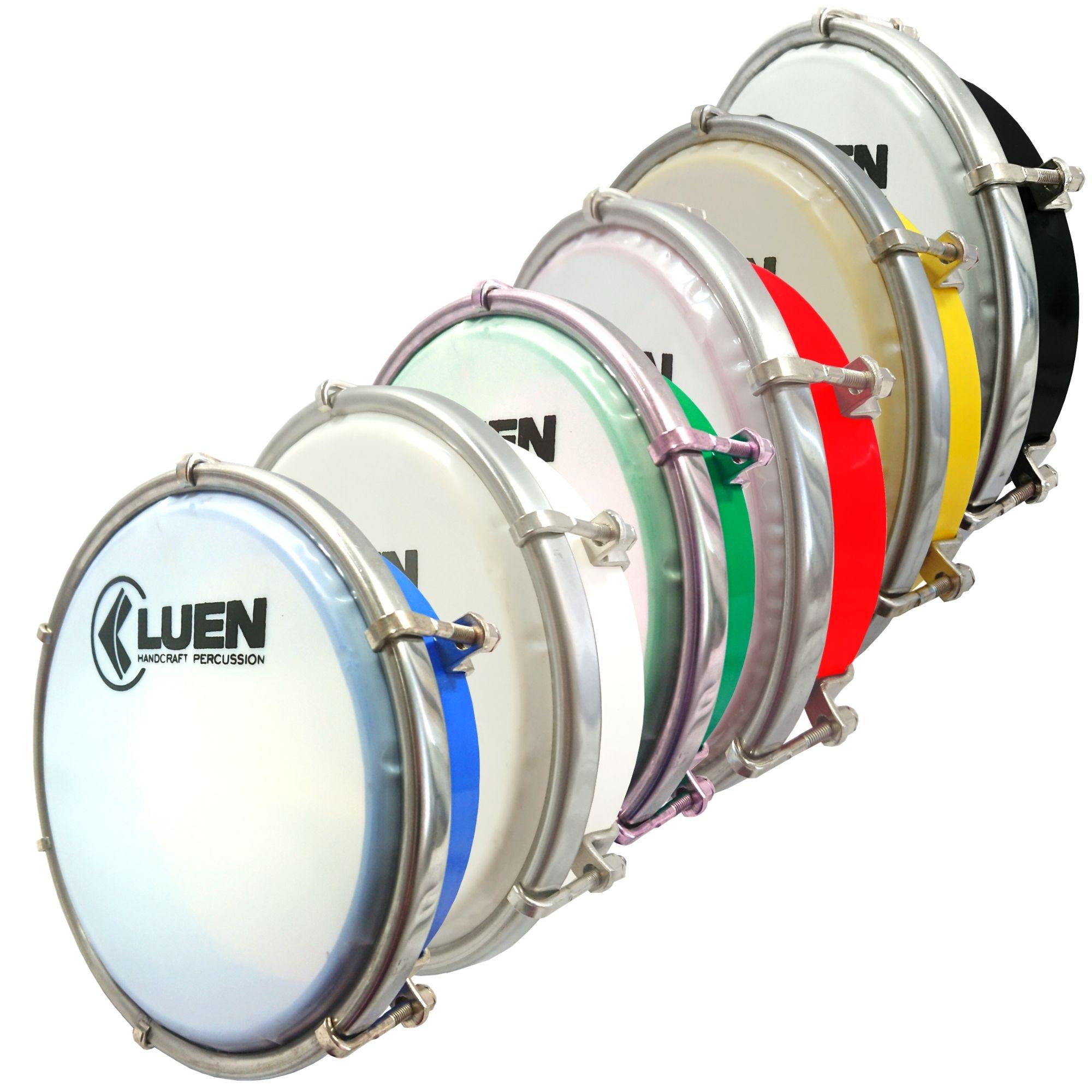 Tamborim 06 Luen, com chave de afinação. Tamborim para samba e outros. Cores