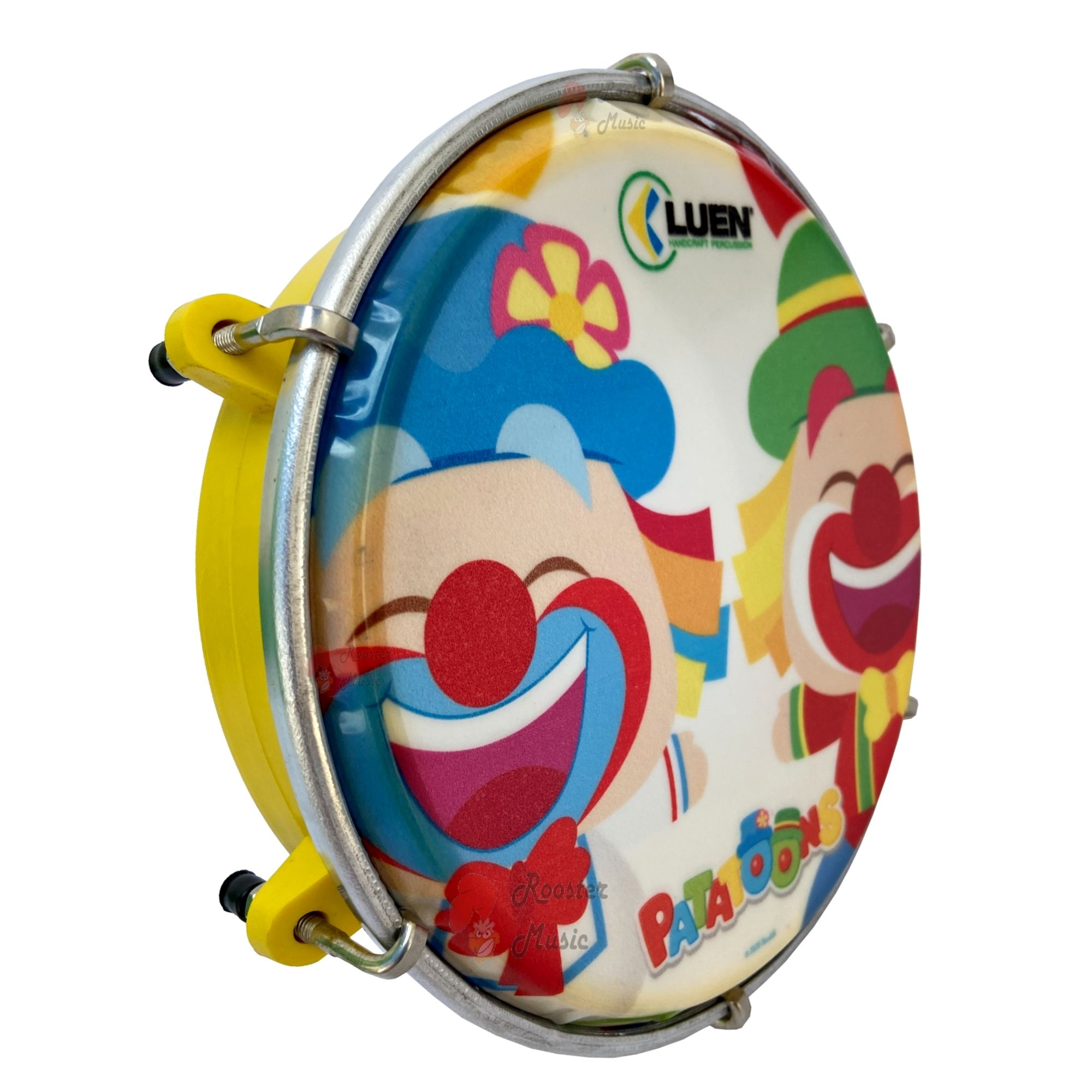 Tamborim Infantil Patati Patata de 6 polegadas da Luen, Pele Personalizada, corpo em Abs e com baqueta.