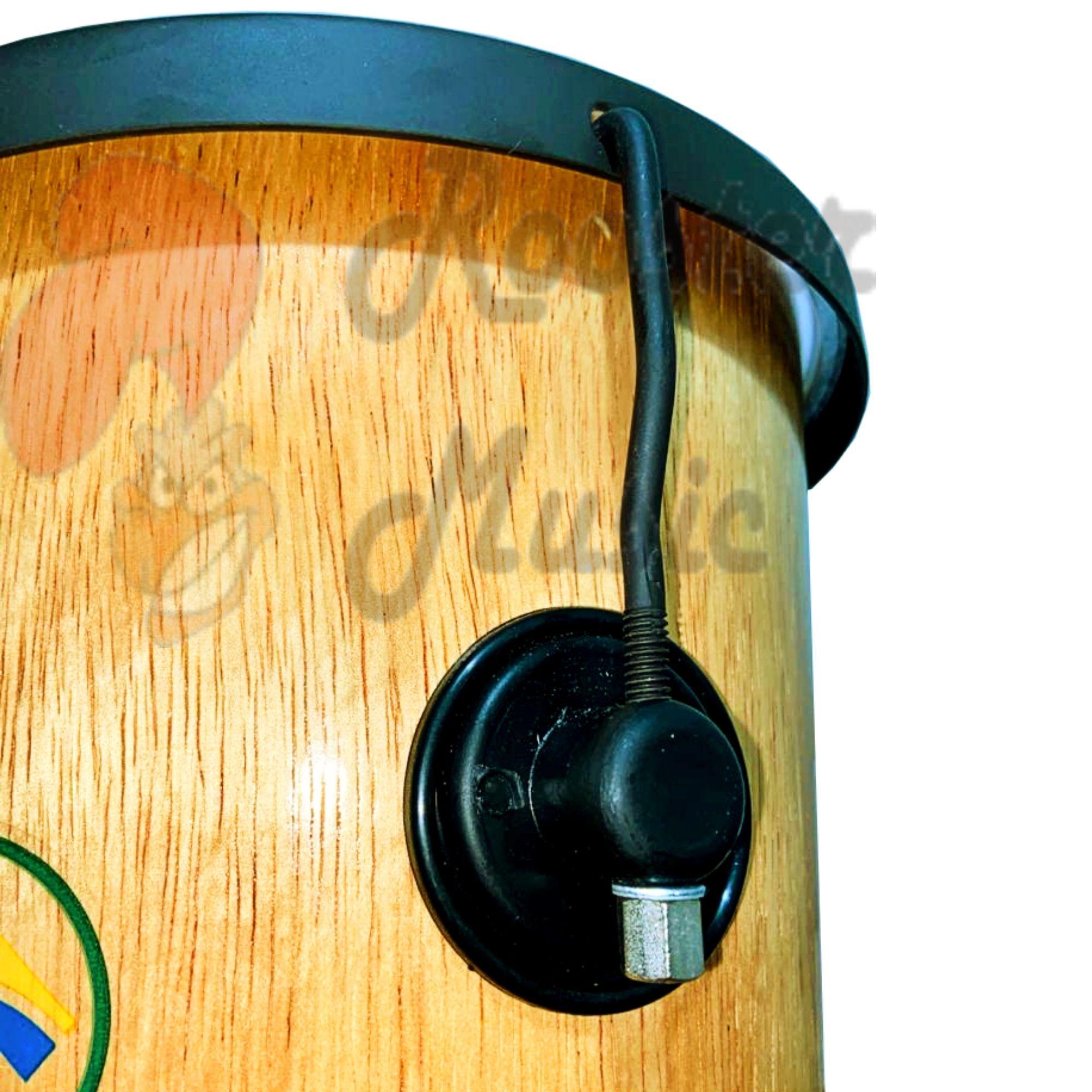 Timba 30 cm x 10 polegadas, 4 Afinações, Ferragem Pop Preto, Corpo de madeira e Pele Leitosa Luen.