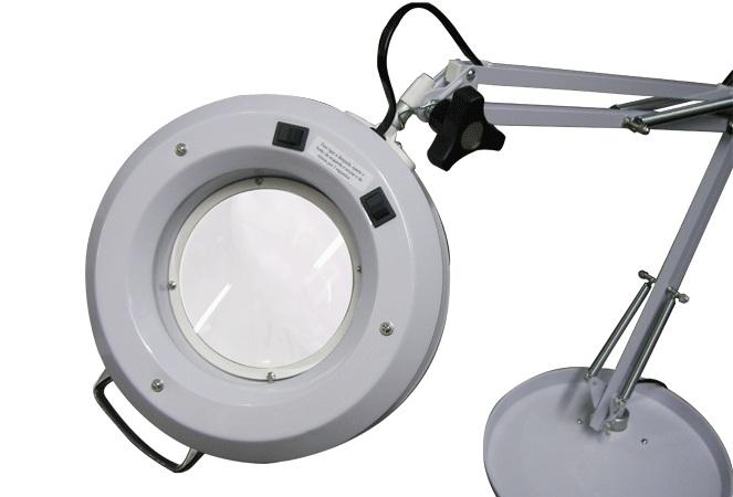 Luminária com lente - Tripé e bandeja (Lupa articulada com pedestal) - Estek