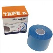 Fita Adesiva Elástica Tape K 75mm x 5m Kinésio 201473 Azul - Macrolife