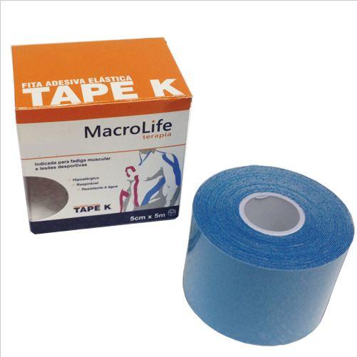 Fita Adesiva Elástica Tape K 75mm x 5m Kinésio 201473 Azul - Macrolife  - Shopping Prosaúde