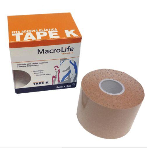 Fita Adesiva Elástica Tape K 75mm x 5m Kinésio 201472 Cor da Pele - Macrolife