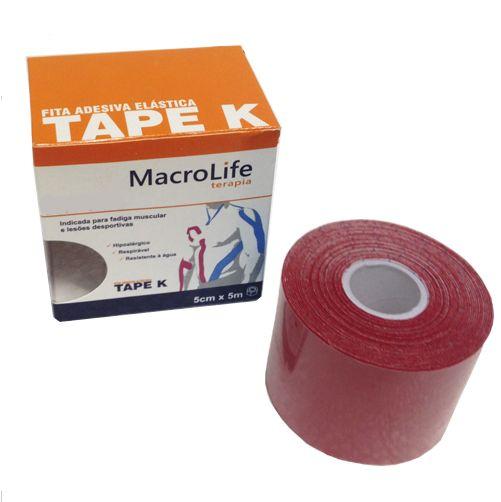 Fita Adesiva Elástica Tape K 75mmX5m Kinésio 201474 Vermelho - Macrolife