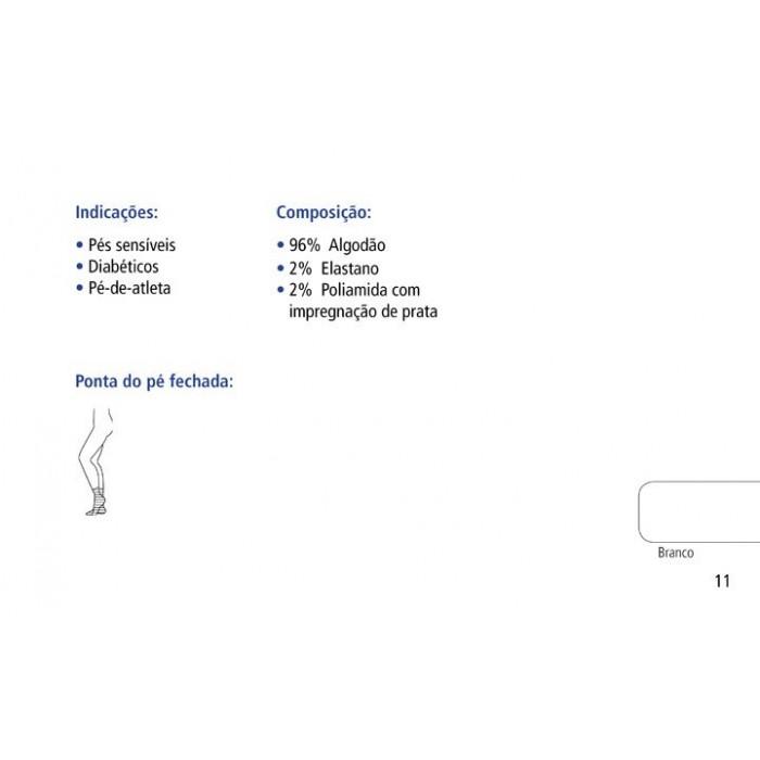 Meia Silverline Fechada Branca Ponteira Fechada Unisex  (par) - Venosan