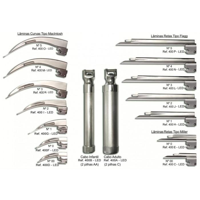 Laringoscópio de Fibra Ótica Missouri C/ 05 Lâminas Sendo 01 Reta Tipo Mulher e 04 Curvas Tipo Mcintosh ? Mikatos  - Shopping Prosaúde