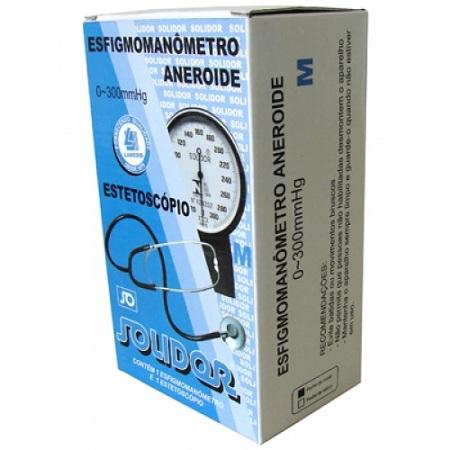 Aparelho de Pressão Aneróide Braçadeira em Nylon Fecho de Velcro + Estetoscópio - Solidor / Lamedid  - SP