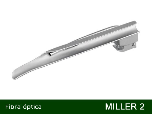 Lâmina de Laringoscópio Aço Inox Fibra Óptica Miller 2   - MD  - Shopping Prosaúde
