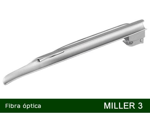 Lâmina de Laringoscópio Aço Inox Fibra Óptica Miller 3  - MD