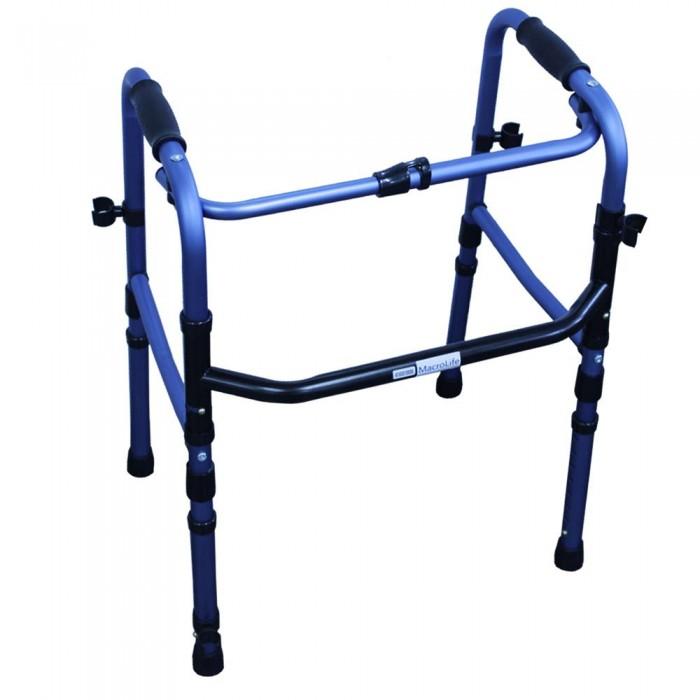 Andador de Alumínio Fixo Totalmente Dobrável Azul - Macrolife