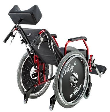 Cadeira de Rodas Alumínio 44cm Ágile Reclinável Vinho - BAXMANN E JAGUARIBE