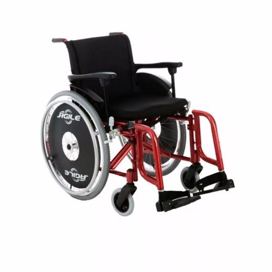 Cadeira de Rodas Alumínio Ágile 40cm Vinho - BAXMANN E JAGUARIBE  - Shopping Prosaúde
