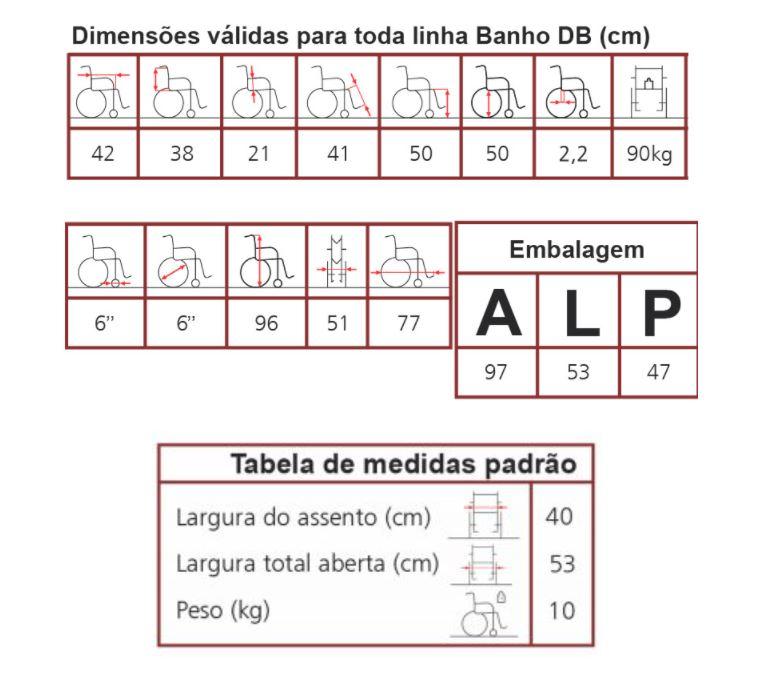 CADEIRA DE RODAS BANHO DOBRÁVEL DB 40CM - JAGUARIBE