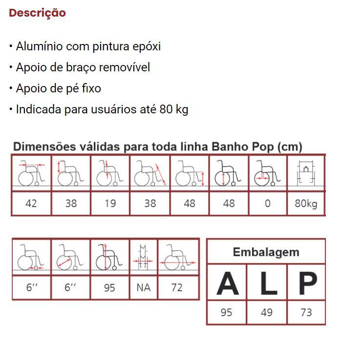 CADEIRA DE RODAS HIGIÊNICA BANHO POP ALUMÍNIO 40CM - JAGUARIBE