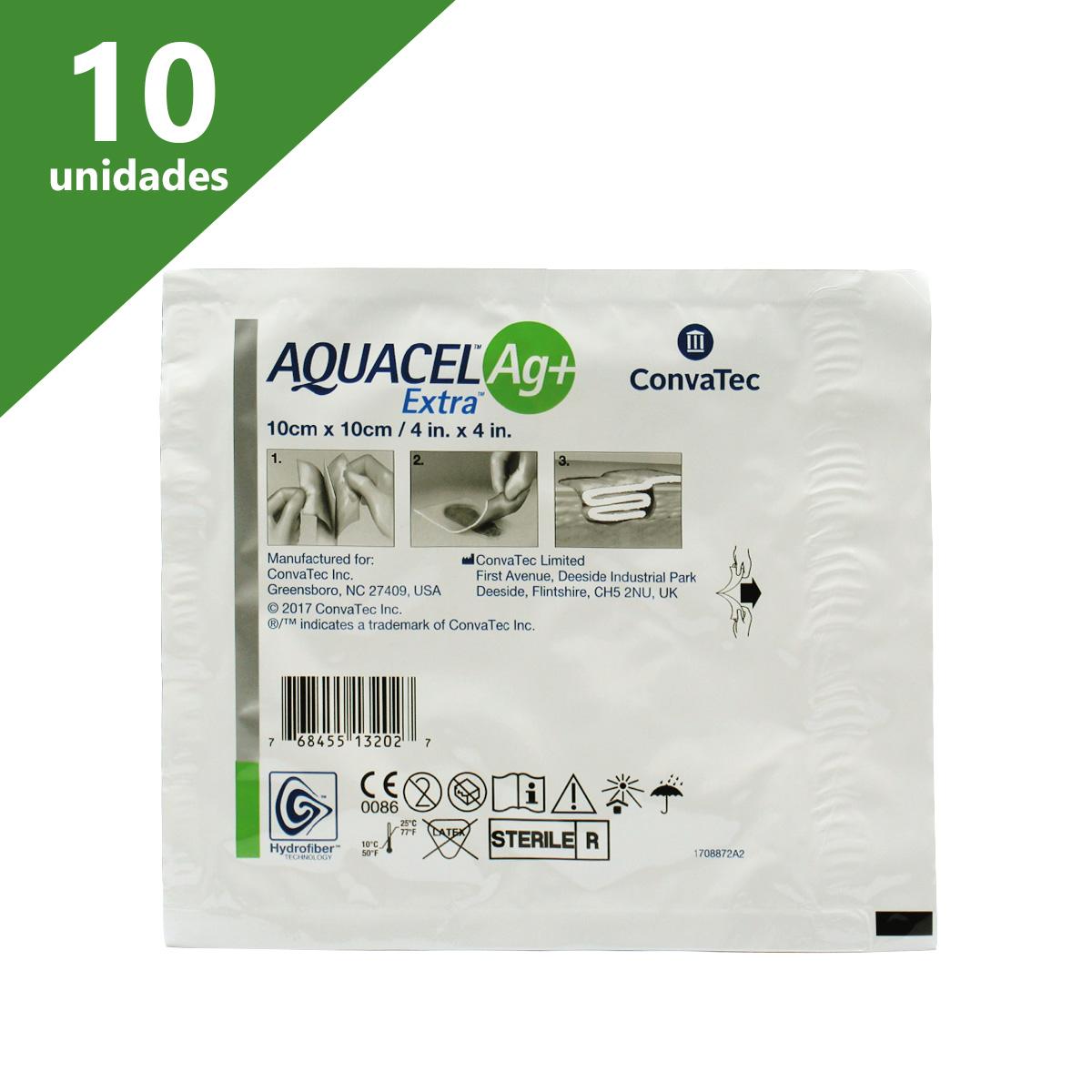 CURATIVO AQUACEL AG+ EXTRA 10 X 10 CM (C/10 UNDS) - CONVATEC