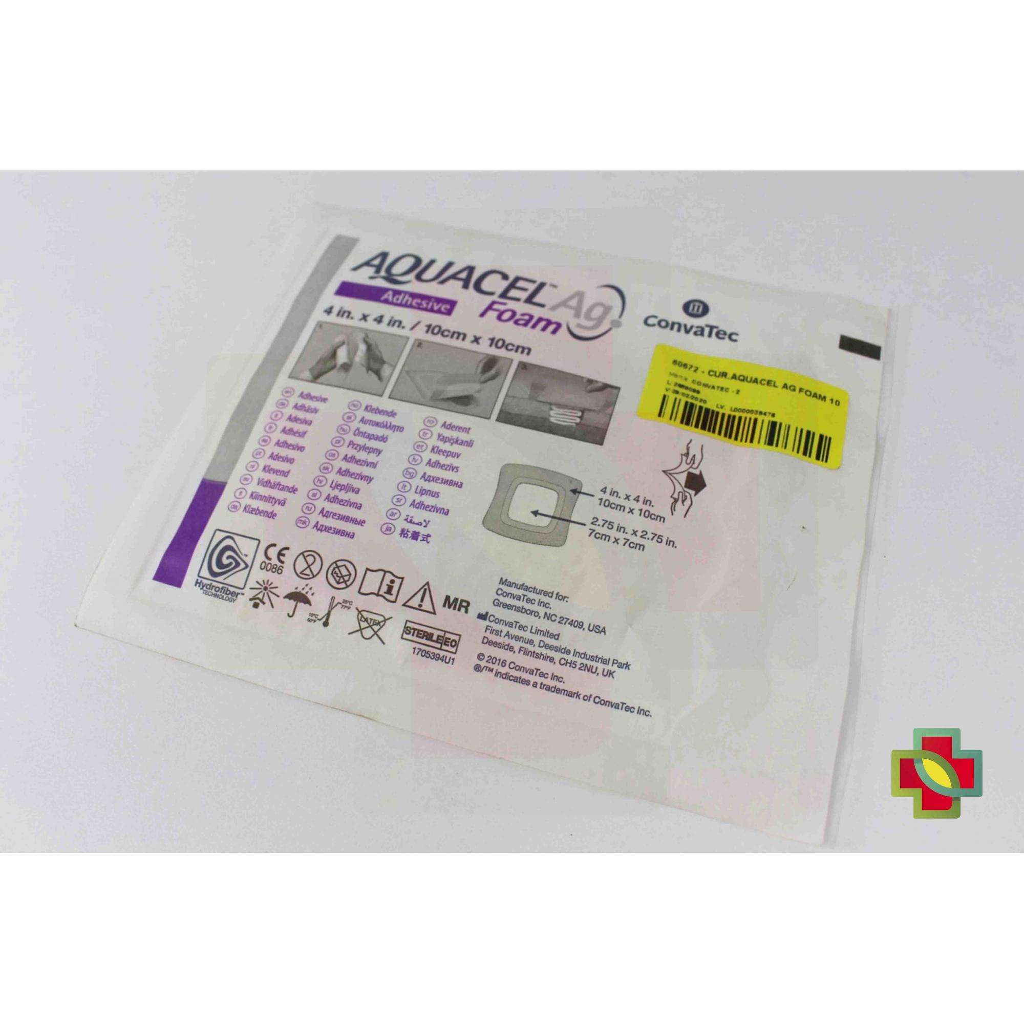 CURATIVO AQUACEL AG FOAM ADESIVO 10 X 10  (CX C/10 UND) 420681 - CONVATEC