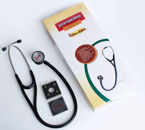 ESTETOSCÓPIO CARDIOLÓGICO PROFISSIONAL PRETO - PREMIUM