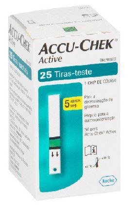 Fitas de Glicemia  Accu Check Active (Cx c/ 25 Unds.) - Roche  - Shopping Prosaúde