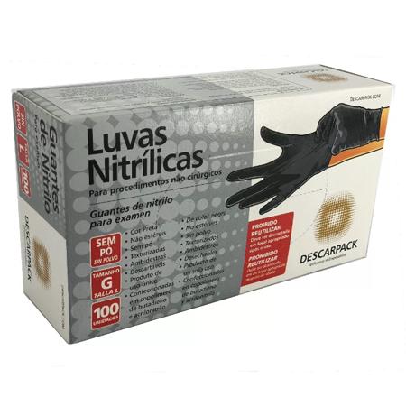 Luva de Procedimento Nitrílica Preta - DESCARPACK  - Shopping Prosaúde