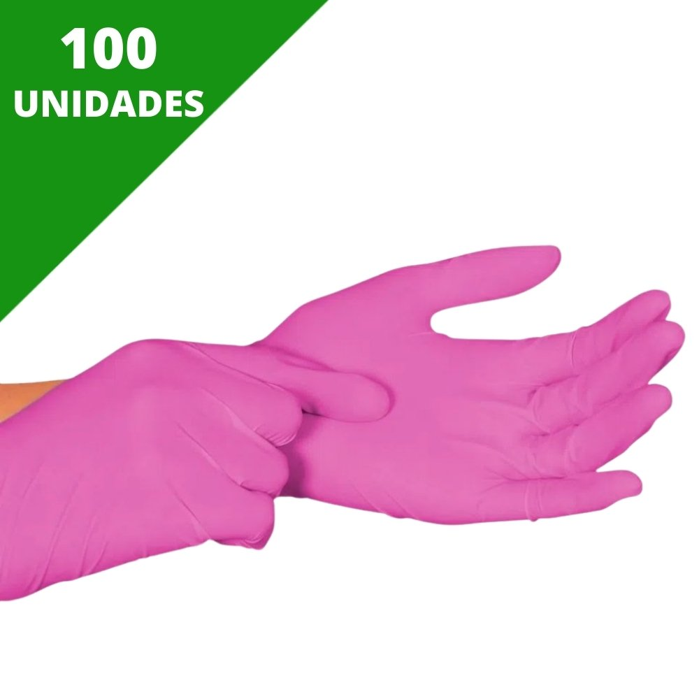 LUVA NITRÍLICA SEM PÓ ROSA TAM. M (CX C/100 UNDS) - NUGARD