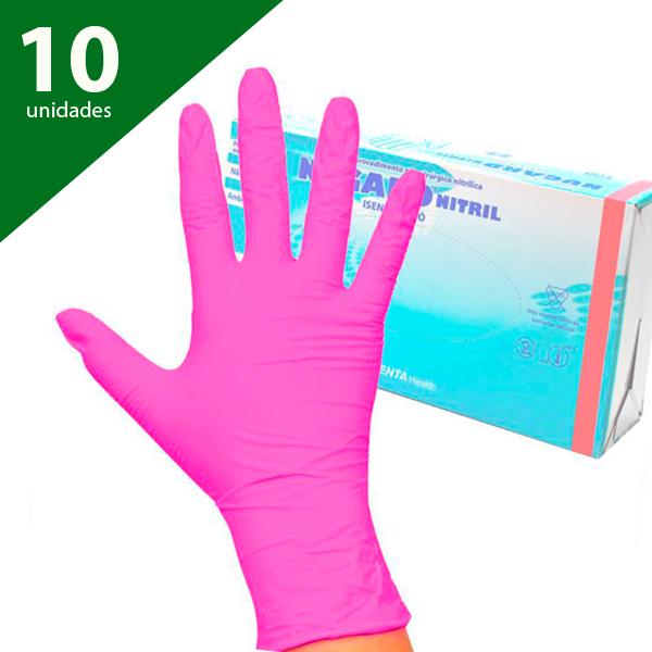 Luva Nitrílica Sem Pó Rosa Tam. PP (kit c/ 10 caixas) - Nugard