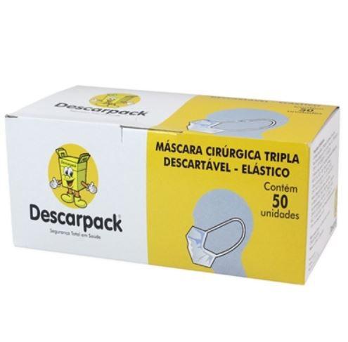 MASCARA DESCARTÁVEL TRIPLA BR C/ELÁSTICO 50 UNIDADES DESCARPACK