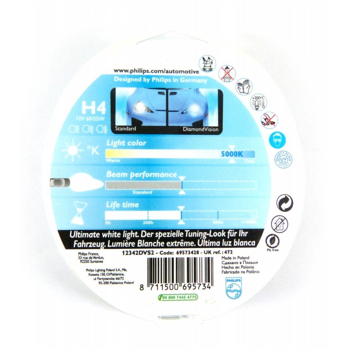 Lâmpada H4 60/55w Philips Diamond Vision 5000k - PAR