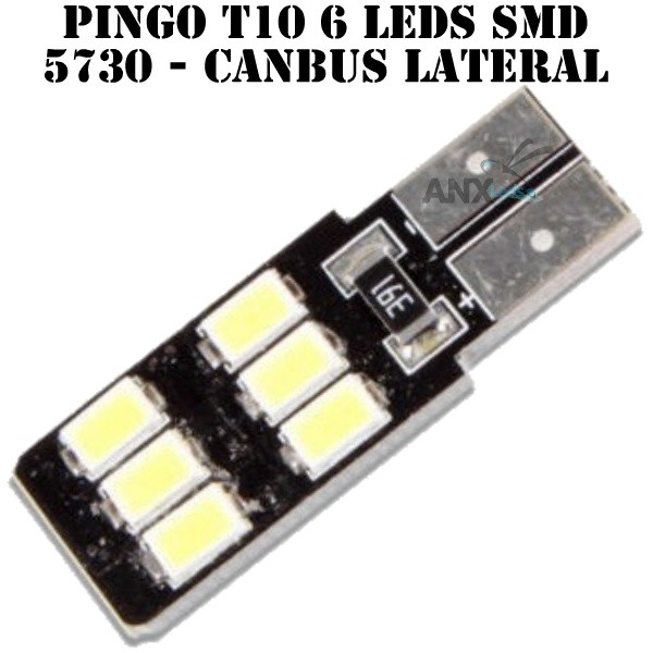 Lampada Pingo T10 6 Leds Smd 5730 Lateral - Canbus Canceller