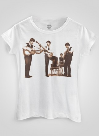 Camiseta Feminina The Beatles Picture Sepia