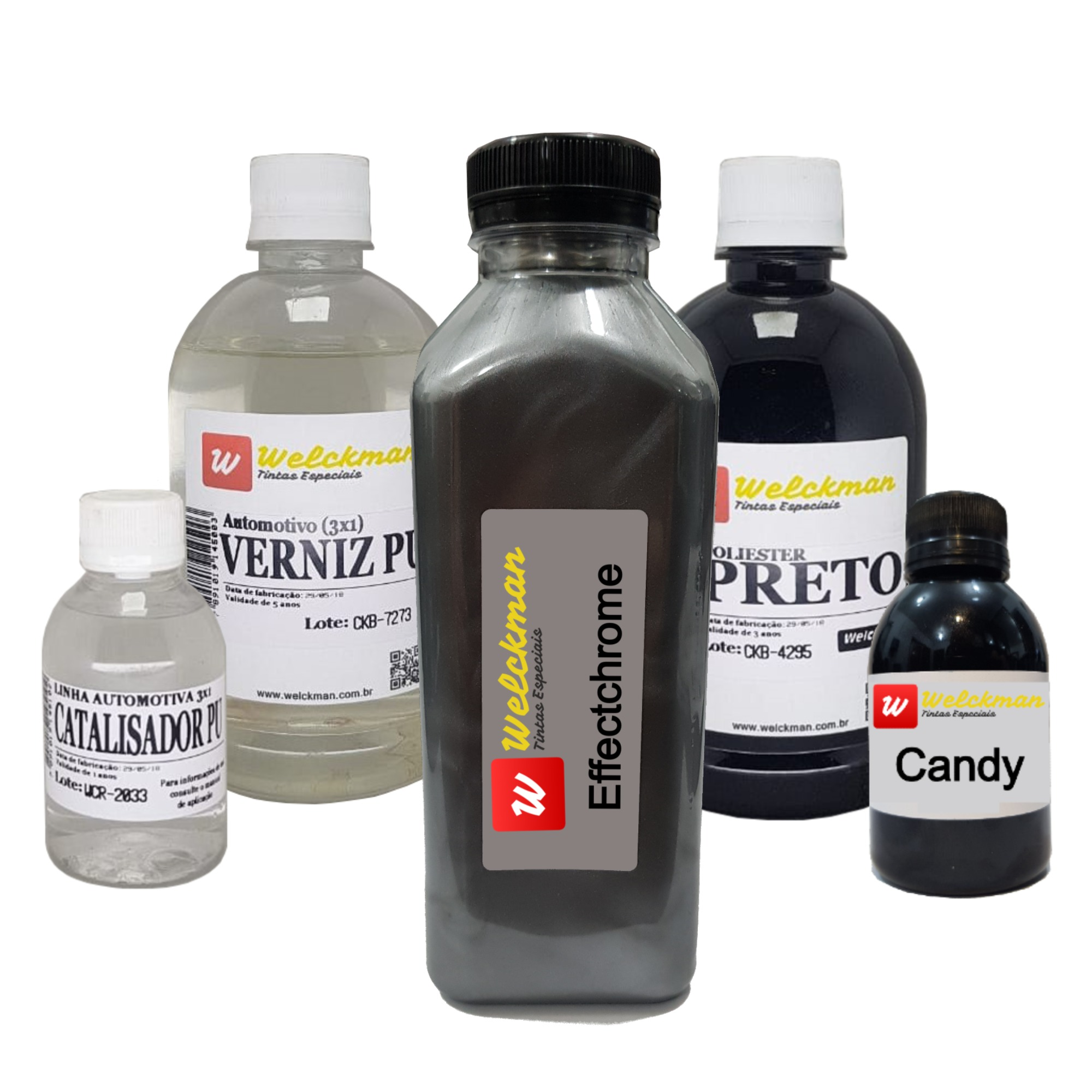 Kit Effectchrome + Base Preta + Verniz PU Alto Sólidos + Candy  - Welckman Tintas