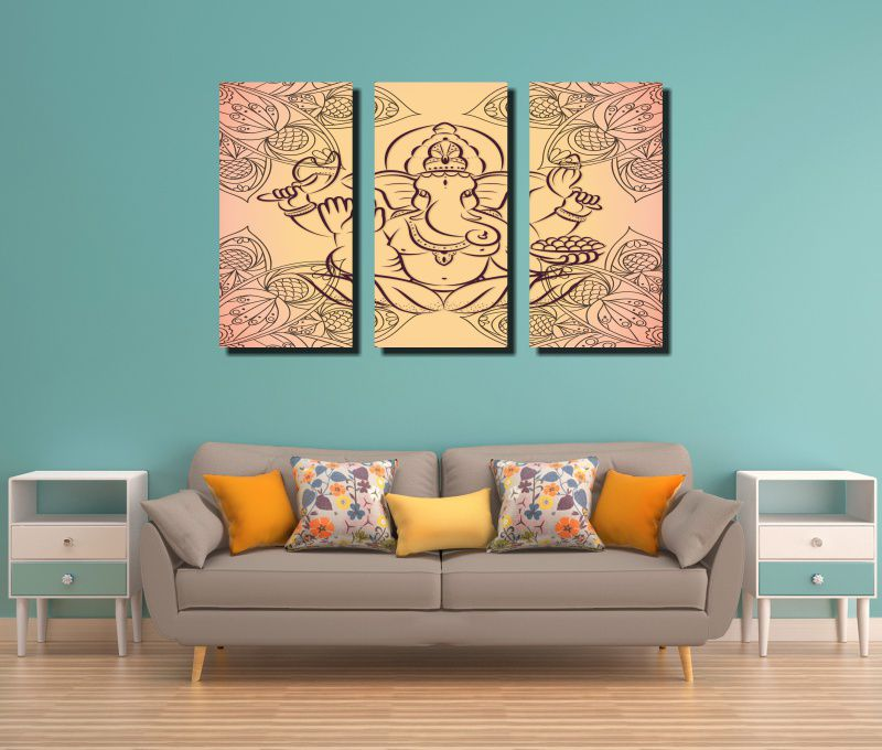 Quadro Decorativo India Deus Ganesh  3 Peças  Para Sala