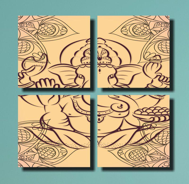 Quadros Decorativos  Deus India Ganesh  4 Peças Para Sala