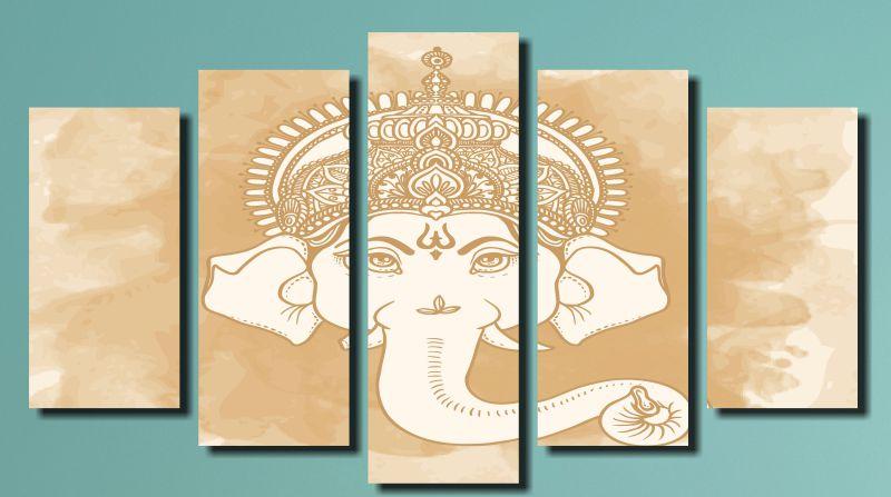 Quadro Decorativo Deus Indiano Ganesh Bege 5 Peças Sala