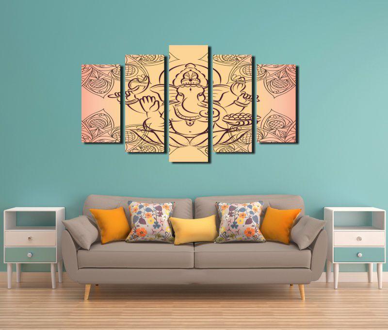 Quadro Decorativo Deus Indiano Ganesh  5 Peças Para Sala